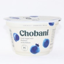 Chobani 0Per Cent Milk Fat  Greek Yogurt with Blueberry on the Bottom  No Fake Fruit  No Artificial Flavors  No Artificial Sweeteners  No Preservatives  No GMO Ingredients  No Gluten  No rBST  Non Fat 5.3 oz