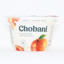 Chobani 0Per Cent Milk Fat Greek Yogurt with Peach on the Bottom No Fake Fruit No Artificial Flavors No Artificial Sweetners No Preservatives No GMO Ingredients No Gluten No rBST Non Fat