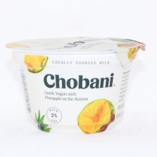Chobani 2Per Cent Milk Fat  Greek Yogurt with Pineapple on the Bottom  No Fake Fruit  No Artificial Flavors  No Artificial Sweeteners  No Preservatives  No GMO Ingredients  No Gluten  no rBST  Low Fat