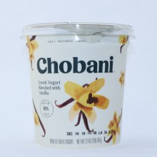Chobani Greek Yogurt Blended with Vanilla Non Fat No Artificial Flavors No Artificial Sweeteners No Preservatives No GMO Ingredients No Gluten