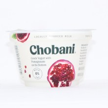 Chobani 0Per Cent Milk Fat  Greek Yogurt with Pomegranate on the Bottom  No Fake Fruit  No Artificial Flavors  No Artificial Sweeteners  No Preservatives  No GMO Ingredients  No Gluten  No rBST  Non Fat