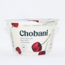 Chobani 0% Milk Fat Greek Yogurt with Black Cherry on the Bottom, No Fake Fruit, No Artificial Flavors, No Artificial Sweeteners, No Preservatives, No GMO Ingredients, No Gluten, No rBSt, No Fat  5.3 oz