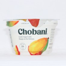Chobani 2Per Cent Milk Fat  Greek Yogurt with Mango on the Bottom  No Fake Fruits  No Preservatives  No Artificial Flavors  No Artificial Sweeteners  No GMO Ingredients  No Gluten  No rBST  Low Fat