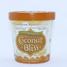 Luna  and  Larrys Organic Coconut Bliss. Non Dairy Frozen Dessert. Chocolate Peanut Butter. USDA Organic Non GMO.  1 pint
