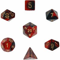 Chessex Gemini Polyhedral 7-Die Set Black-Red w/ Gold