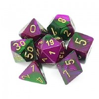 Chessex Gemini Polyhedral 7-Die Set Green-Purple w/ Gold