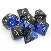 Chessex Gemini Polyhedral 7-Die Set Black-Blue w/ Gold