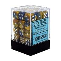 Chessex Gemini 12mm D6 Dice Block (36) Blue-Gold w/ White