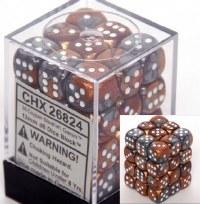 Chessex Gemini 12mm D6 Dice Block (36) Copper-Steel w/ White