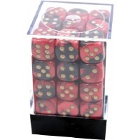 Chessex Gemini 12mm D6 Dice Block (36) Black-Red w/ Gold