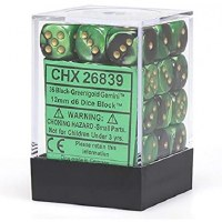 Chessex Gemini 12mm D6 Dice Block (36) Black-Green w/ Gold