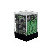 Chessex Gemini 12mm D6 Dice Block (36) Black-Grey w/ Green