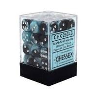 Chessex Gemini 12mm D6 Dice Block (36) Black-Shell w/ White