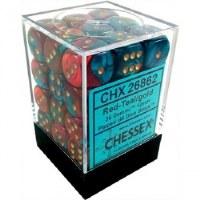 Chessex Gemini 12mm D6 Dice Block (36) Red-Teal w/ Gold
