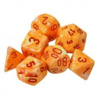 Chessex Festive Polyhedral 7-Die Set Sunburst w / Red