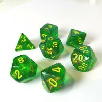Chessex Borealis Polyhedral 7-Die Set - Maple Green w/yellow