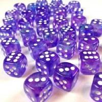 Chessex Borealis Luminary 12mm D6 Blocks Purple/White