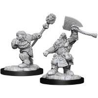Magic Unpainted Miniatures Dwarf Fighter Male & Dwarf Cleric