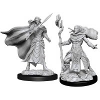 Magic Unpainted Miniatures Elf Fighter Male & Cleric Male