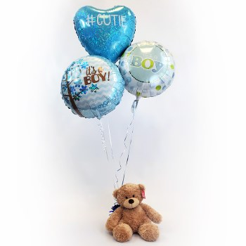 Baby Boy Balloon Bouquet with Teddy Bear