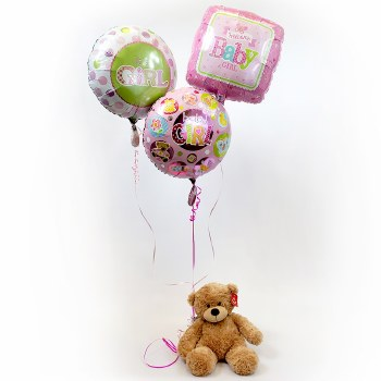Baby Girl Balloon Bouquet with Teddy Bear
