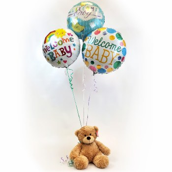 Baby Gender Neutral Balloon Bouquet with Teddy Bear