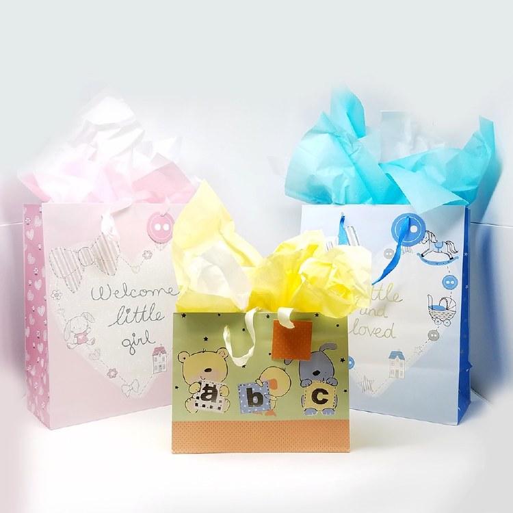 Newborn Themed Gift Bag w/Tissue Paper