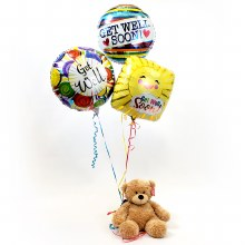 Get Well Balloon Bouquet with Teddy Bear