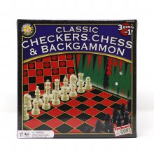 Checkers, Chess and Backgammon 3-in-1 Game Set