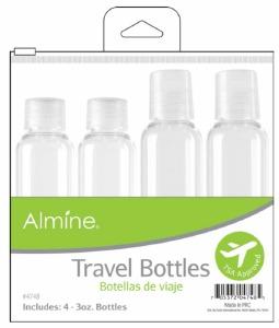 Travel Bottles in Pouch 3oz 4ct #4748