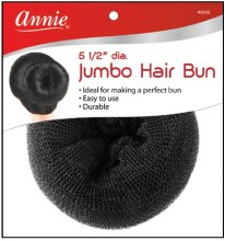"Jumbo Hair Bun 5.5"" Black Nylon Mesh Donut Type #3292"