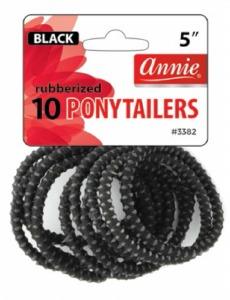 Rubberized Ponytailer 10ct, Black #3382