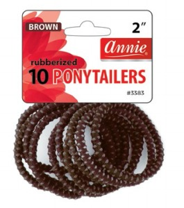 Rubberized Ponytailer 10ct, Brown #3383