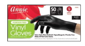 Vinyl Gloves Small 50ct, Black #3850