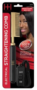 Electric Straightening Comb Medium Double Sided Teeth Black/Gold #5532