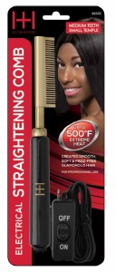 Electric Straightening Comb Medium Teeth Small Temple Head Black/Gold #5533