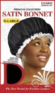 Donna Satin Bonnet X-Large, Black