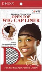 Donna Open Top Wig Cap Liner, Black