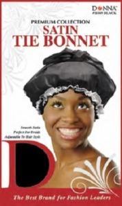 Donna Satin Tie Bonnet, Black