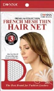 Donna French Mesh Thin Hair Nets 3pcs, Black
