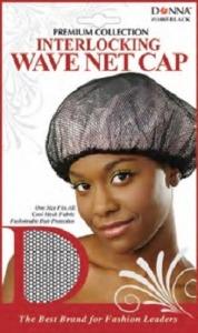 Donna Interlocking Wave Net Cap, Black