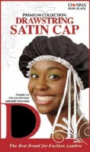 Donna Drawstring Satin Cap, Black