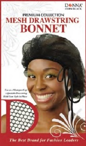 Donna Mesh Drawstring Bonnet, Black