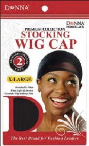 Donna Stocking Wig Cap 2pcs X-Large, Black
