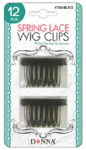 Donna Spring Lace Wig Clips 12pc #7084