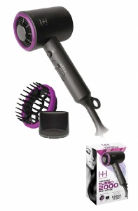 MiniPro Turbo 2000 Hair Dryer, Grey & Purple #5907