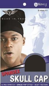 King J Spandex Skull Cap Black #076