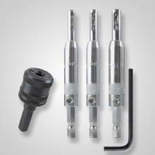 3PC HINGE BIT SET W/ CHUCK