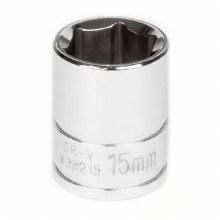 "15MM x 3/8"" DR SHALLOW CHROME SOCKET 6PT"