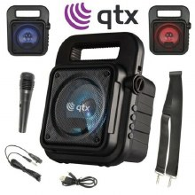 QTX Karaoke Machine Portable Bluetooth Party Disco LED Speaker inc Microphone